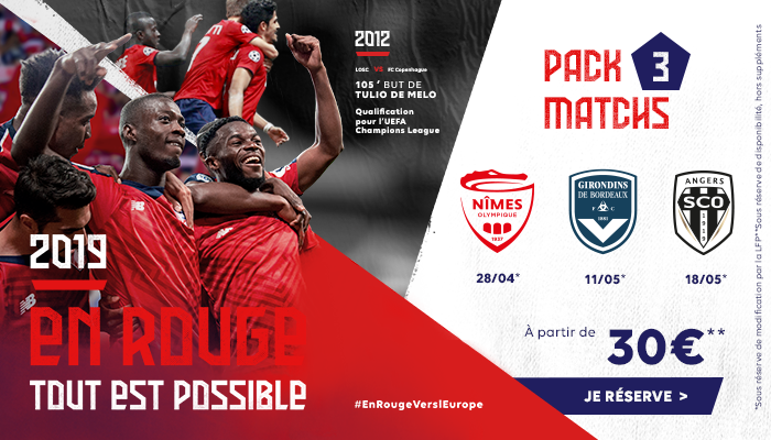 LOSC Europe pack 3 matchs