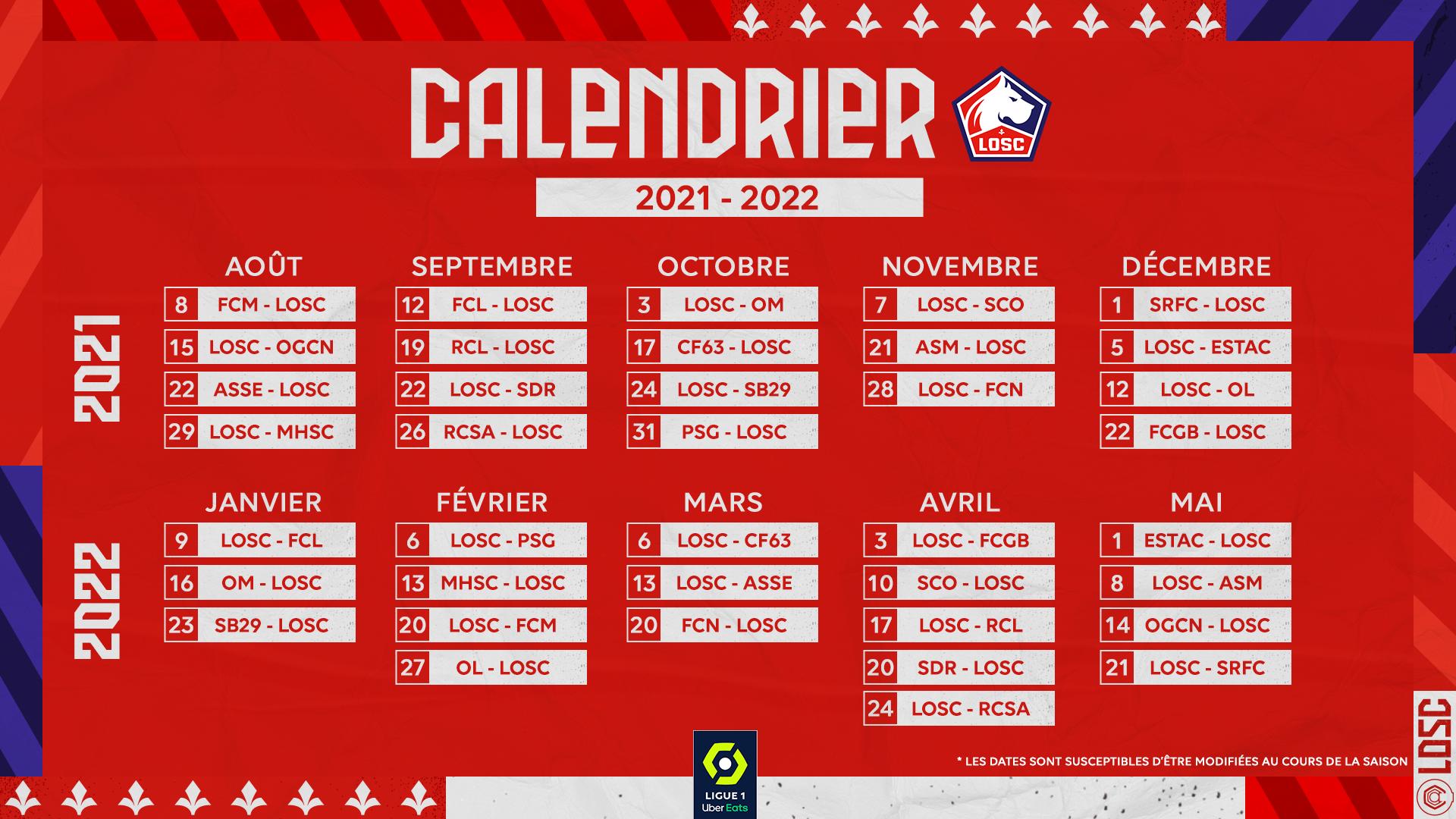 Losc Calendrier 2022 Découvrez le calendrier 21 22 du LOSC ! | Lille LOSC