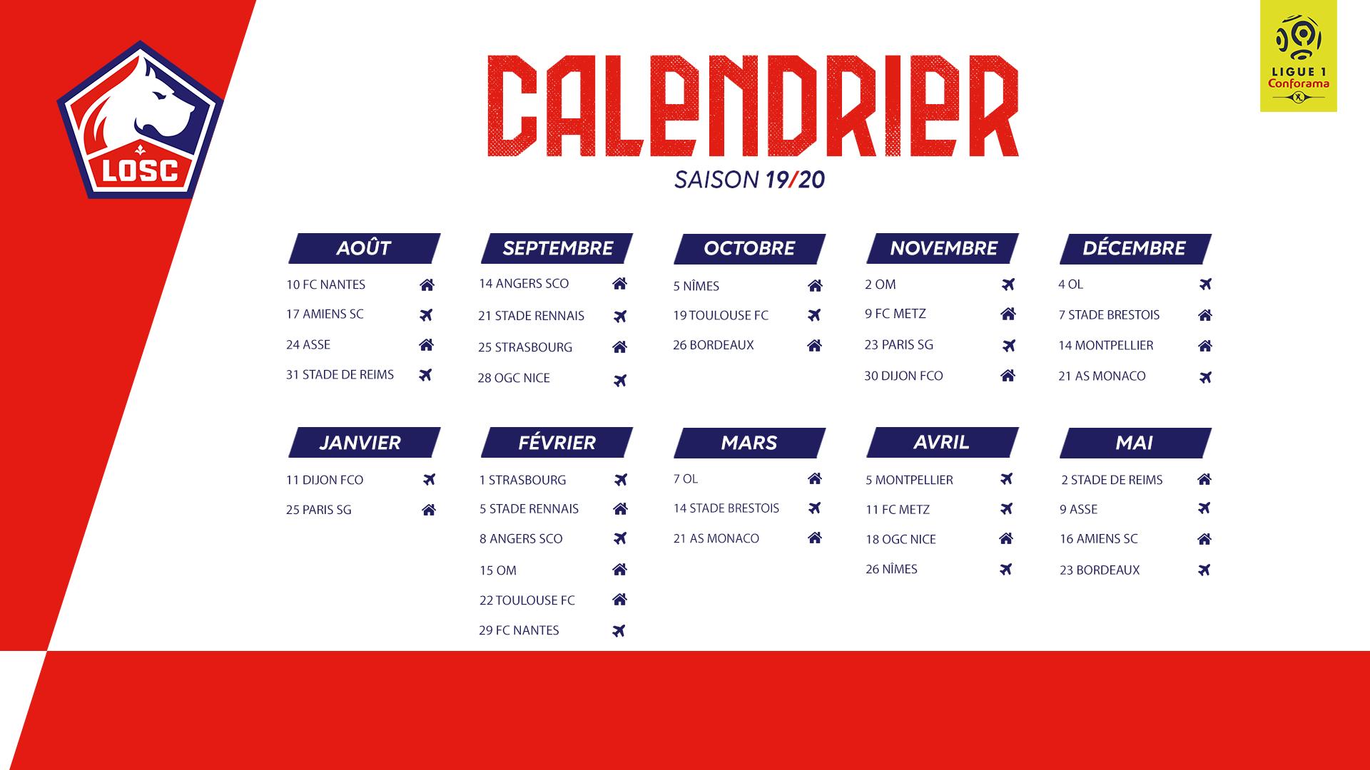Calendrier Psg 2020.Le Calendrier 2019 20 Devoile Lille Losc